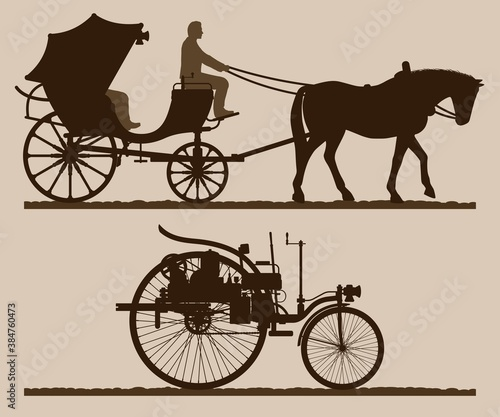 Retro transport silhouettes Canvas Print