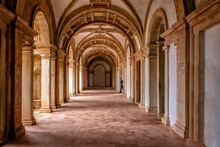 Side-lit Cloister Hallway With Columns And Ribbed Vaulted Ceilings. Templar Castle/Convent Of Christ, Tomar, Portugal.