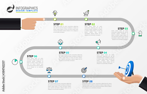 Infographic design template. Timeline concept with 8 steps Fototapeta