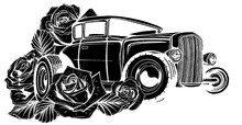 Vintage Car, Hot Rod Garage, Hotrods Car,old School Car, Black Silhouette