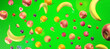 Leinwandbild Motiv Healthy fruits with vitamins on green   background. Organic fresh sweet fruits flying pattern. Apples, banana, orange, plums, strawberies. Healthy diet. 3d rendering.