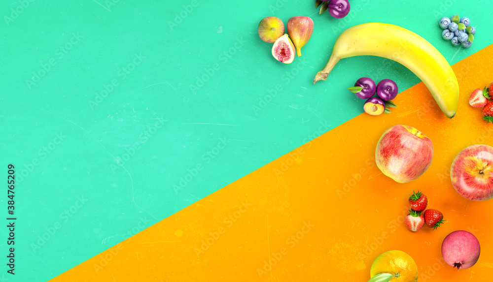 Fototapeta Healthy fruits with vitamins background. Organic fresh sweet fruits. Apples, banana, orange, plums, strawberies. Healthy diet. 3d rendering.
