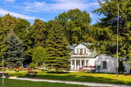 Obraz na plátně Panoramic view of park and historic museum manor house of Mikolaj Rej, polish re