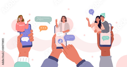 Hands Holding Smartphones with Video Chat on Screen.  Boys and Girls Chatting and Communicating Together in Social Media. Female and Male Characters Talking. Flat Cartoon Vector Illustration.