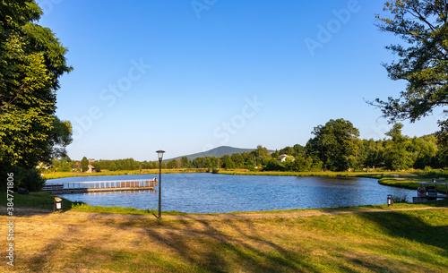 Fototapeta Ciekoty lake and park surrounding Zeromszczyzna - historic museum manor house of