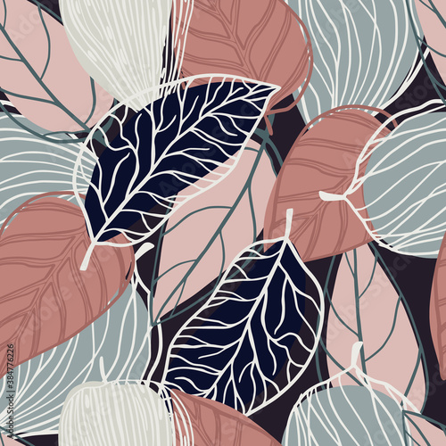Fototapeta Random seamless pastel pattern with contoured botanic leaves silhouettes