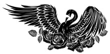 Vector Set Of Swan And Roses. ...