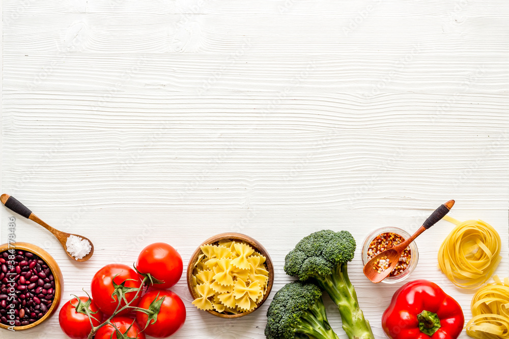Fototapeta Vegetables cereals spices herbs, condiment for vegan, gluten free eating diet