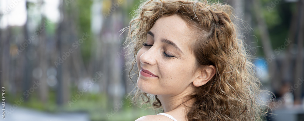 Fototapeta Banner of happy smiling middle aged caucasian woman