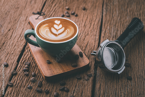 Fotografie, Obraz Latte art on hot latte coffee