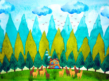 Funny Alpaca Family Country Farm Field Cottage House Home Watercolor Painting Illustration Design Drawing Christmas Background Happy