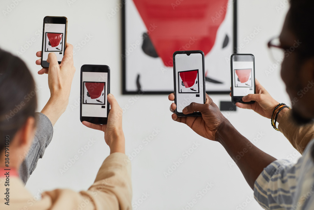 Fototapeta Graphic background of multiple people taking smartphone photos of painting at modern art gallery exhibition, copy space