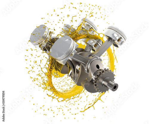 Fotomural 3d illustration of car engine with lubricant oil