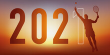 Carte De Vœux 2021 Sur Le Thème Du Sport, Avec Un Joueur De Tennis, Qui Frappe La Balle Avec Sa Raquette Pour Un Point Gagnant.