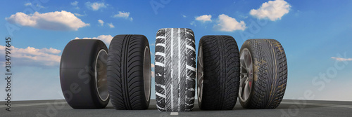 Fototapeta Different car tires for rain, snow and weather obraz