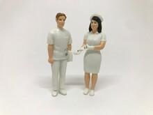 看護師の人形、フィギュア:医療従事者イメージ(白背景)