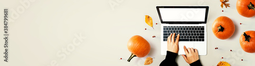 Autumn pumpkins with person using a laptop computer from above - 384799681