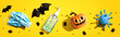 canvas print picture - Masks and sanitizer bottle with Halloween objects - healthcare and hygiene concept