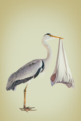 Retro styled image of a stork holding a newborn baby in a blanket