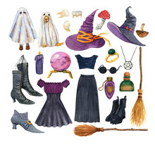 Watercolor Witchcraft Set. Bla...