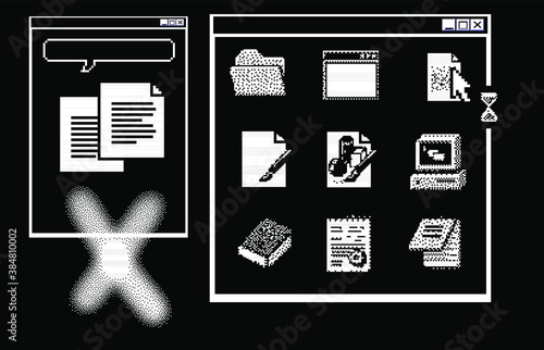 Obraz Old user interface windows, retro message box with buttons. Vaporwave and retrowave style elements. - fototapety do salonu