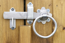 Traditional Metal Gate Latch With Ring Handle Closeup