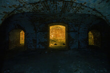 Dark And Creepy Vaulted Red Brick Dungeon