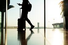 Walking Traveler With Suitcase...