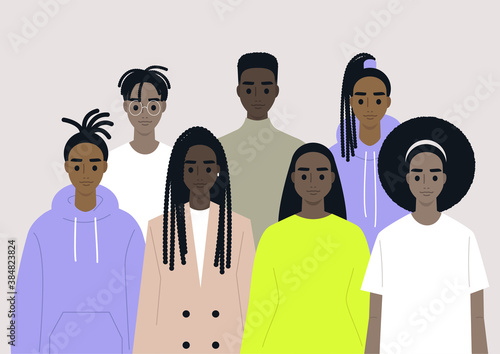 Black community, African people gathered together, a set of male and female characters wearing different clothes and hairstyles