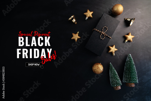 gift box with Christmas decoration for Black Friday Sale concept