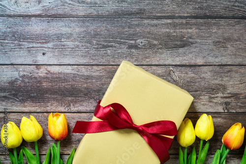 Boxing day Sale concept Christmas gift box on wooden background,