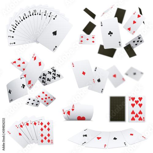 Poker Cards Realistic Sets Wallpaper Mural