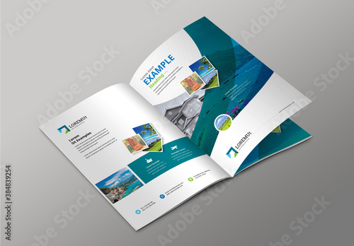 Travel and Tourism Bifold Brochure with Abstract Elements