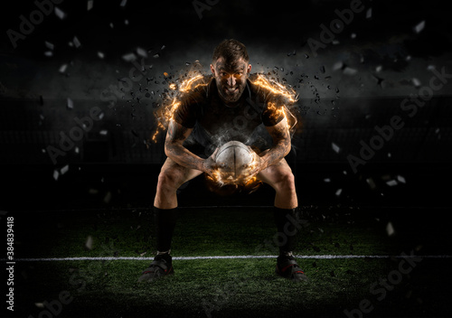 Fotografie, Obraz Rugby player in action