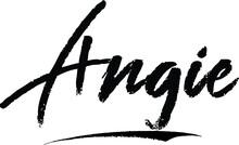 Angie-Female Name Modern Brush Calligraphy On White Background