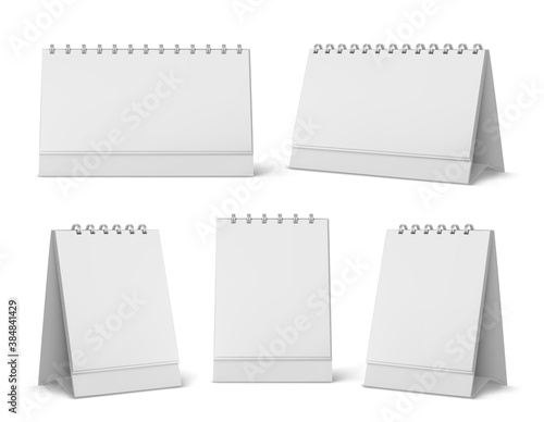 Calendar mockup with blank pages and spiral Canvas Print