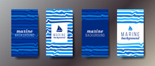 Set Of Four Vertical Marine Business Cards With Graphic Elements And Text. Vector Illustration.