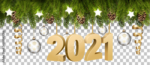 Fototapeta Christmas holiday frame with branches of tree garland and a golg 2021 litters on transparent background. Vector. obraz
