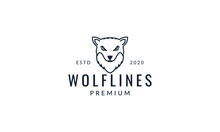 Wolf Or Dog Forest Head Line Minimalist Logo Vector Illustration Design
