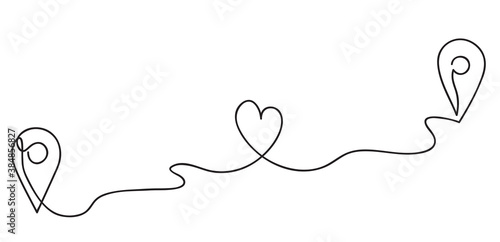 Heart. Abstract love symbol. Traffic route between two loving people. Geolocation signs and trip plan trace with heart symbol. Continuous line art drawing vector illustration