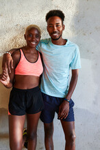 Young Couple Smiling After Jog...
