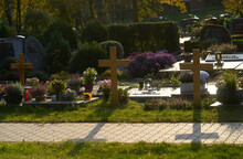 Crosses At Cemetry With Shadows, Symbolic For Death, Germany