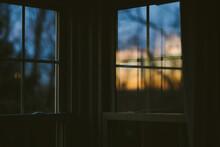 Sunset Seen Through Window