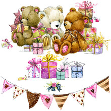Teddy Bear. Watercolor Toy Teddy Bears Background For Celebrating Kids. Watercolor Illustration For Card