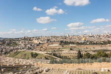 Panorama Overlooking The Old City Of Jerusalem, Including The Dome Of The Rock And The Western Wall. Taken From The Mount Of Olives.