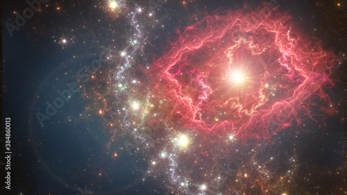 Photo Fantasy stars background with exploding supernova, deep space illustration
