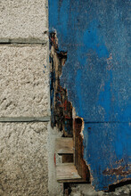 Damaged Wooden Blue Door
