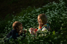 Two Children Play In A Beautif...