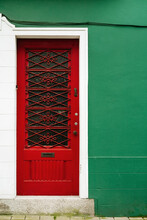 Red Door And Green Wall