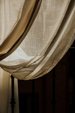 Beige Curtain Drape In The Sun